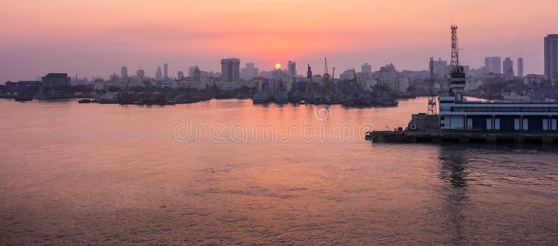 Beautiful panoramic view with sunset - Mumbai, India. stock photo
