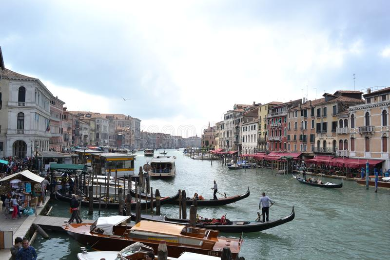 Beautiful panoramic view to the Grand canal from the Rialto bridge in a sunny spring day. royalty free stock photography