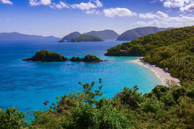 Trunk Bay on St. John, US Virgin Islands. Beautiful panoramic view of Trunk Bay on St. John, US Virgin Islands stock photography