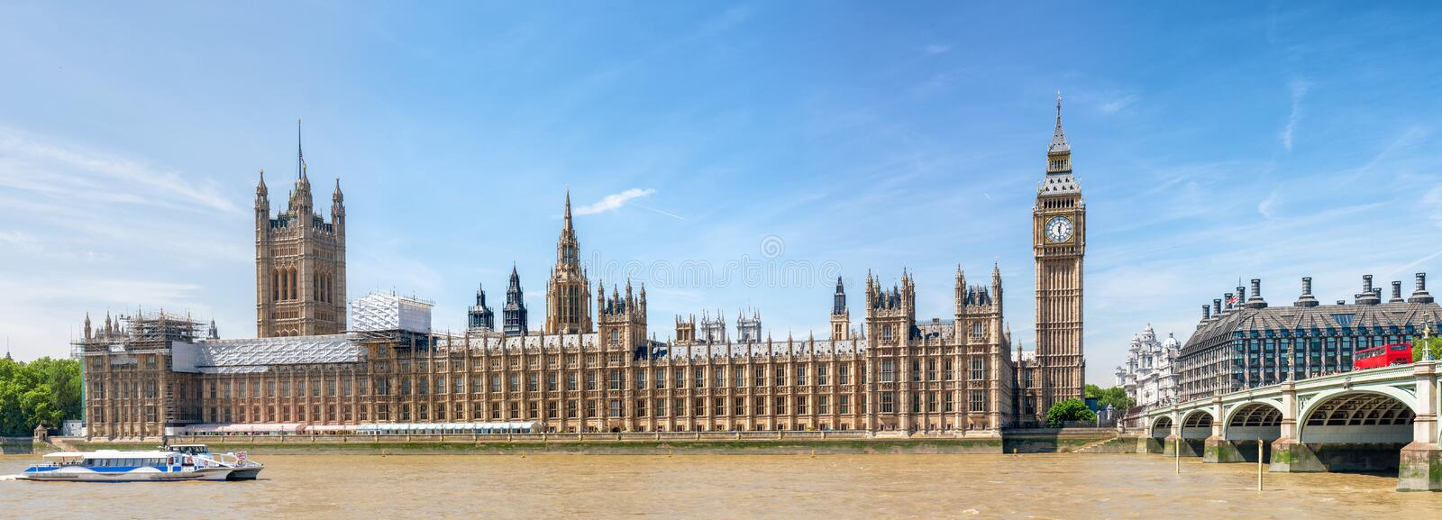 Beautiful panoramic view of Westminster Palace and river Thames, London.  stock photo