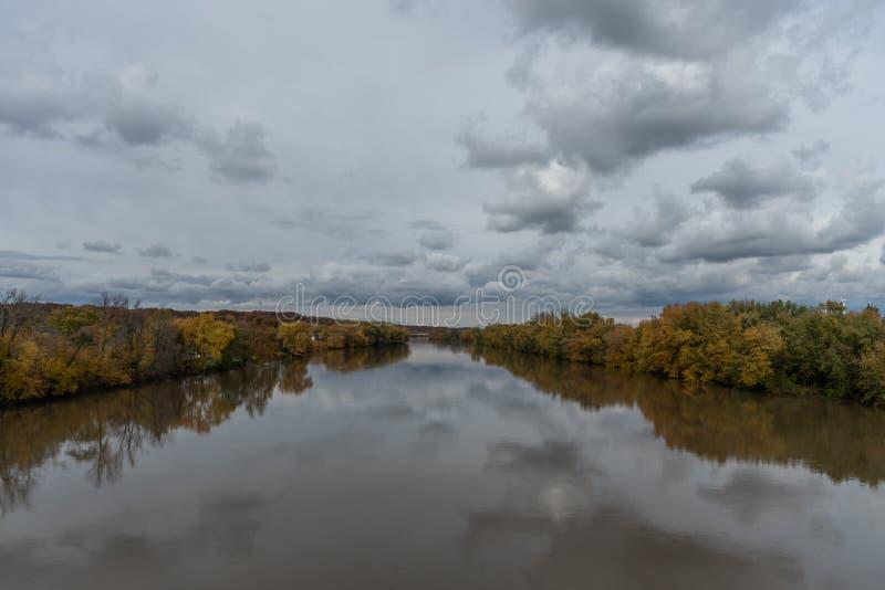 Beautiful panoramic Wabash river vista in Lafayette, Indiana. In autumn stock photo