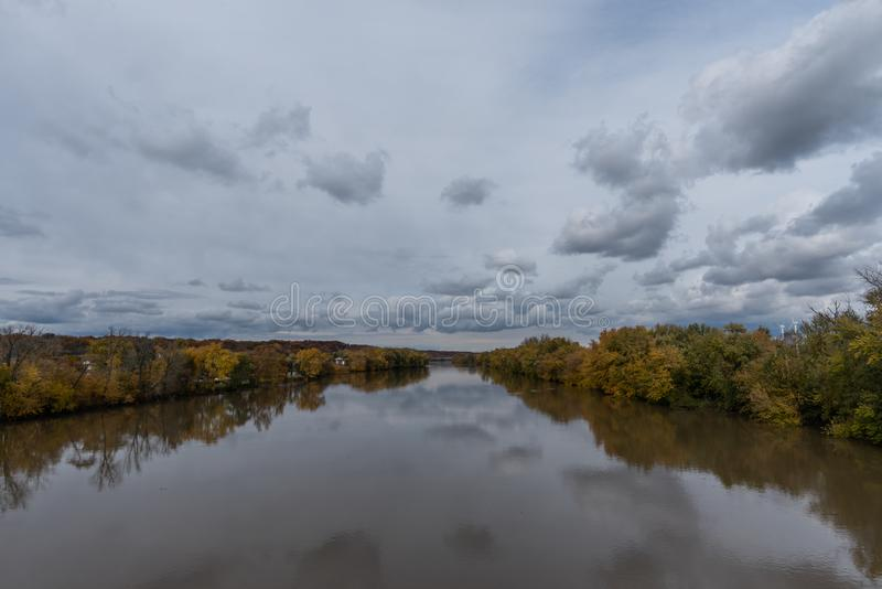 Beautiful panoramic Wabash river vista in Lafayette, Indiana. In autumn stock images