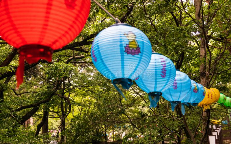 Row of beautiful paper lanterns. The festival celebrate the birthday of Buddha in South Korea stock photography