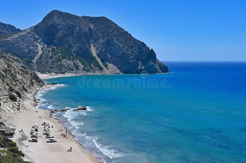 Beautiful Paradise beach in Greece island Kos - Kefalos. Summer concept for vacation/holiday. Natural colorful background. Beautiful Paradise beach in Greece stock photography