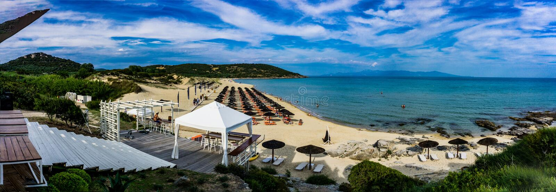 Beautiful Paradise Beach in warm and wonderful Greece. Nea Peramos stock photo