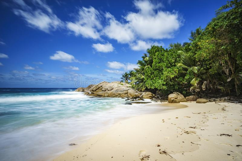 Beautiful paradise tropical beach,palms,rocks,white sand,turquoise water, seychelles 21. Beautiful paradise tropical beach with palm trees, granite rocks,white stock photo