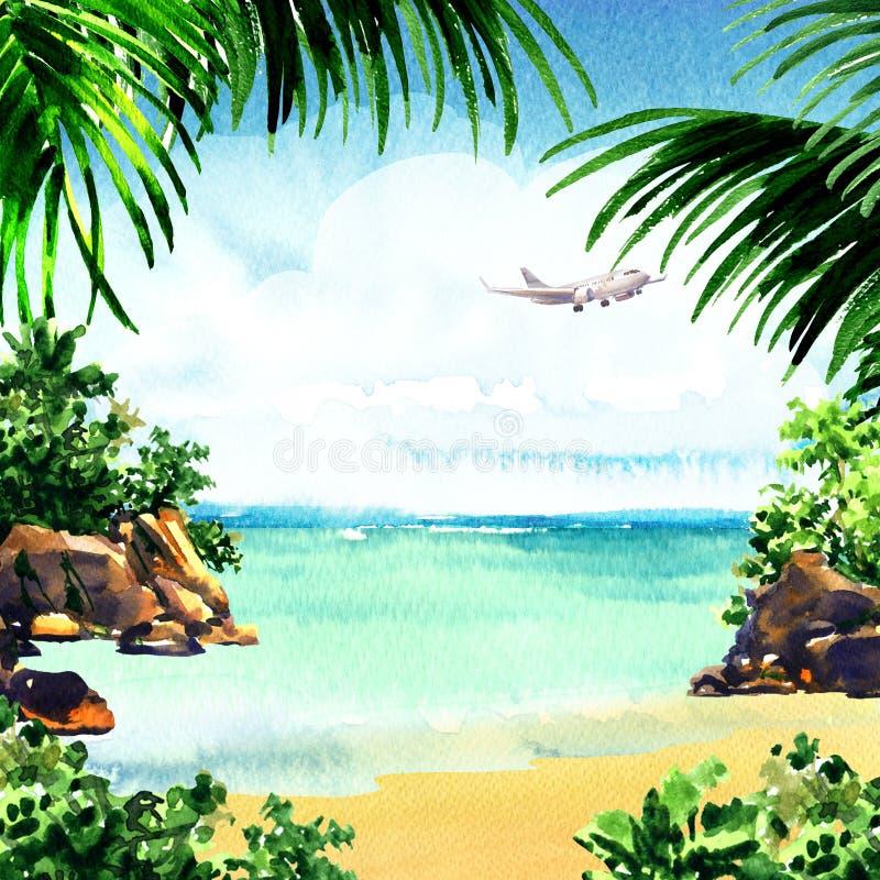 Beautiful paradise tropical island with tropical beach, ocean, sandy beach, palm trees, rocks, flying airplane on sky royalty free illustration