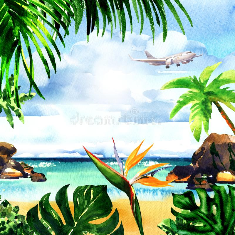 Beautiful paradise tropical island with sandy beach, palm trees, rocks, flying airplane on sky, summer time, vacation royalty free illustration