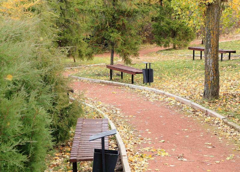 Benches and footpaths in the autumn city park. Victory Park, Saratov, Russia. stock photography