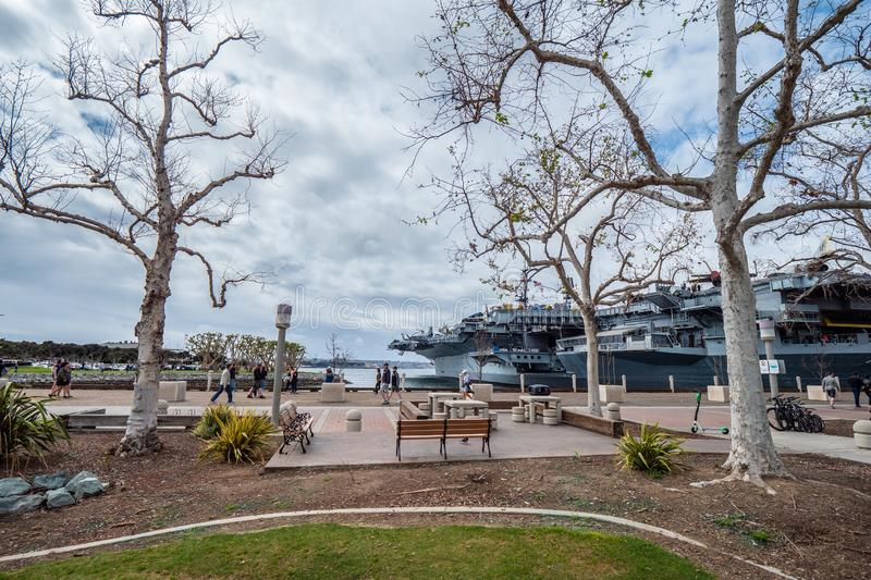 Beautiful park at San Diego bay - CALIFORNIA, USA - MARCH 18, 2019. Beautiful park at San Diego bay - CALIFORNIA, UNITED STATES - MARCH 18, 2019 royalty free stock photography