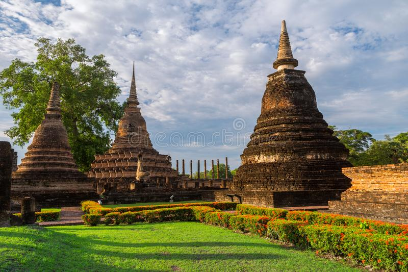 Beautiful park at Sukhothai historical park in Thailand. Beautiful park at Sukhothai in Thailand royalty free stock photos