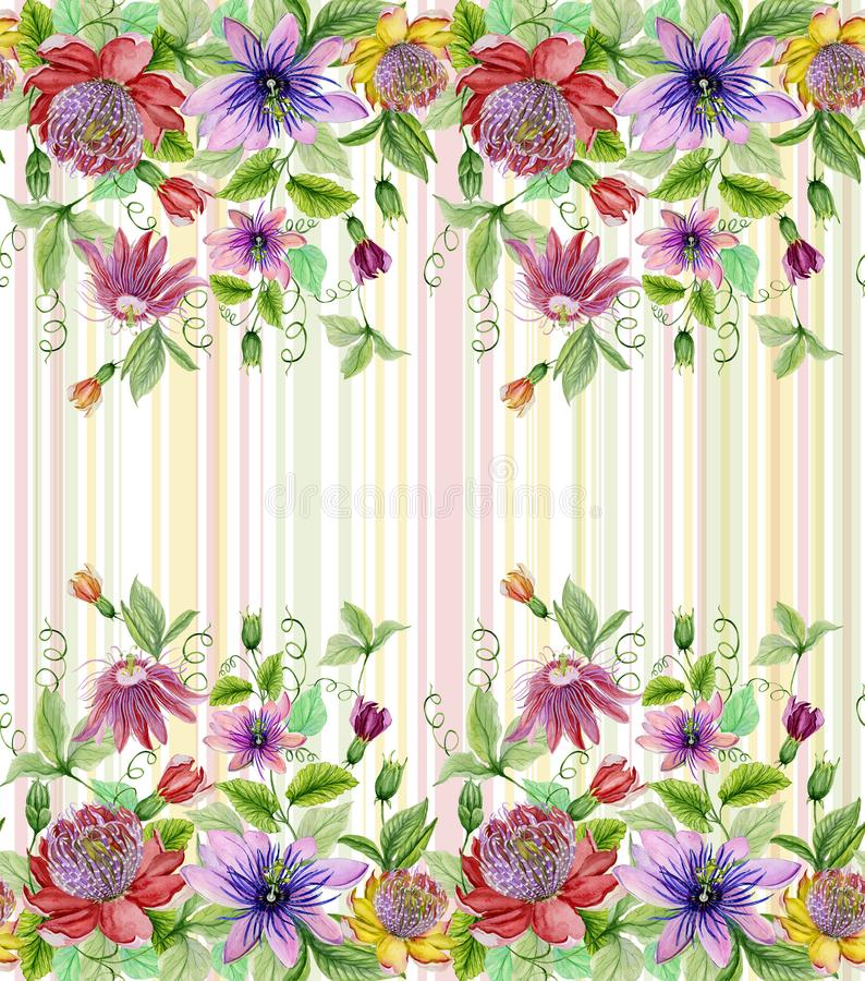Beautiful passion flowers passiflora with green leaves on pastel striped background. Seamless floral pattern. Watercolor paintin. G. Hand painted illustration vector illustration