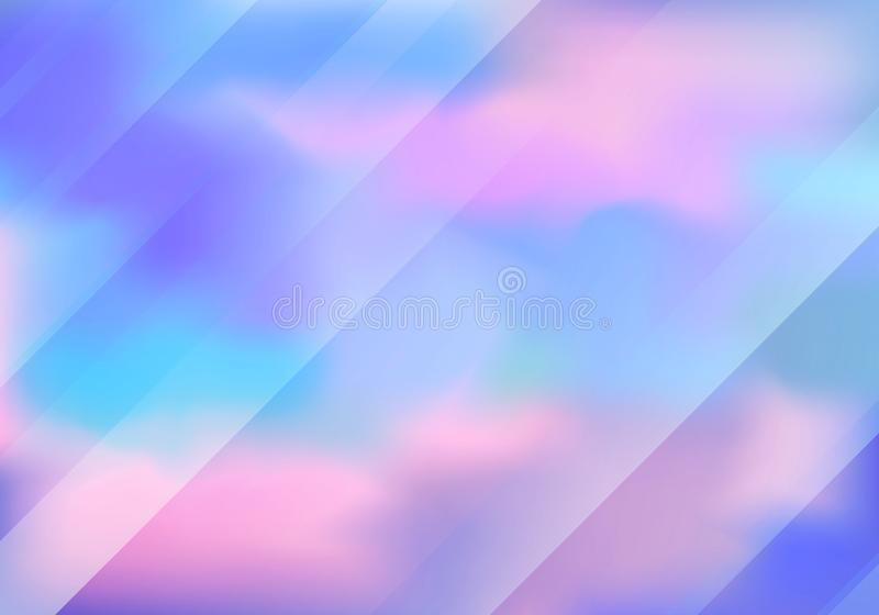 Beautiful Pastel Colored Background with Clouds and Stripes. royalty free illustration
