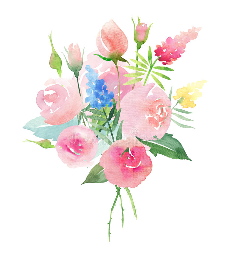 Free Beautiful Pastel Gentle Delicate Tender Cute Elegant Lovely Floral Colorful Spring Summer Pink Roses With Buds, Wildflowers And Gr Stock Images - 92742734
