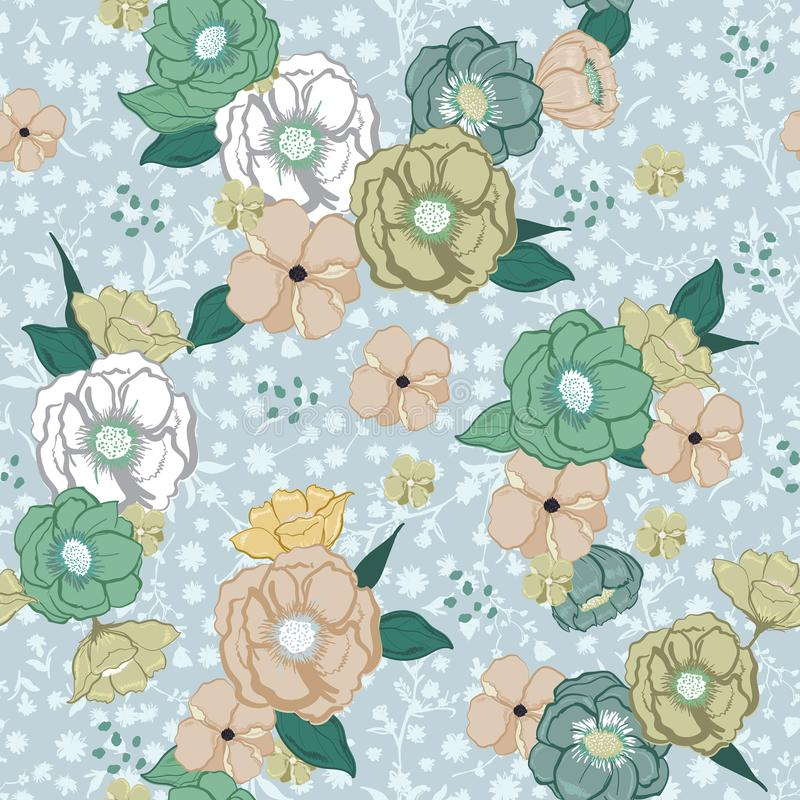 Beautiful pastel Hand drawn sweet colorful summer blooming flowers on light blue florals background stock illustration