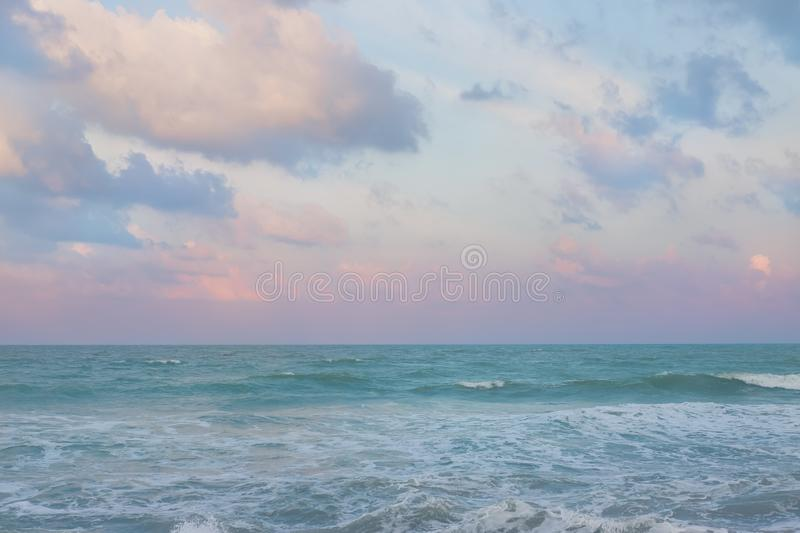 Beautiful pastel sunset sky with cloudscape royalty free stock image