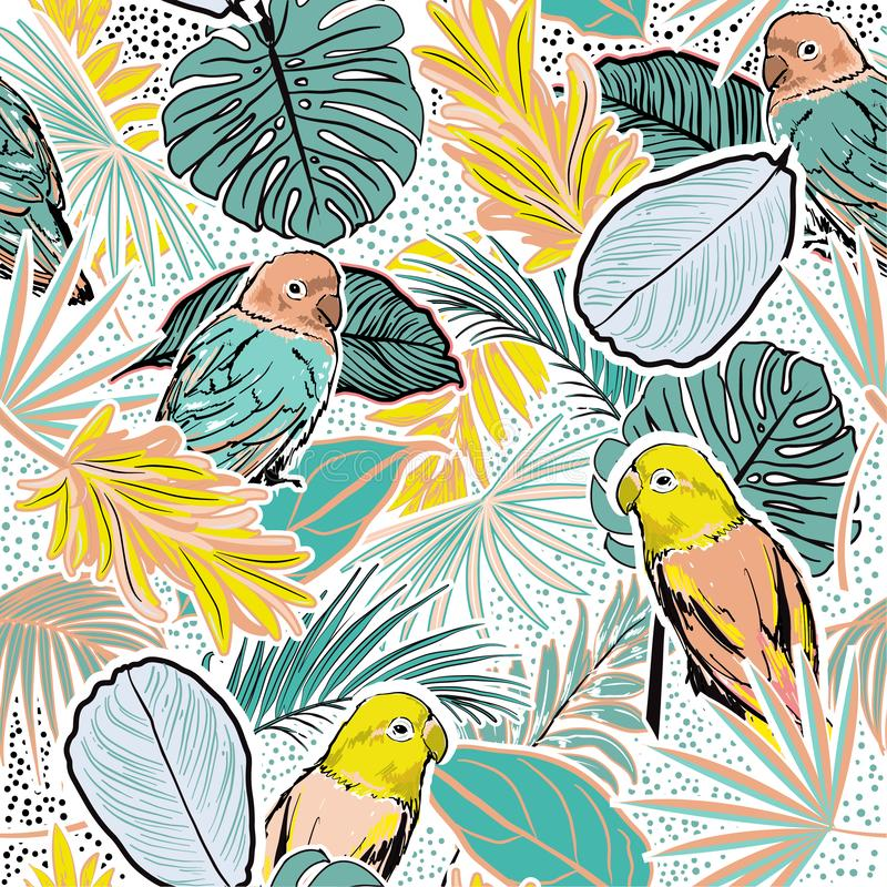 Beautiful pastel sweet mood Tropical  forest with leaves , parrots, palm leaves, polka dots, birds and floral seamless pattern royalty free illustration