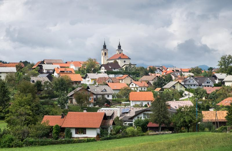 Beautiful pastoral view on Velike Lasce town. Slovenia royalty free stock photos