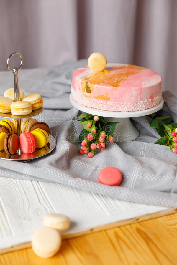 Beautiful pastry. cakes and macaroons. Sweet holiday buffet with cupcakes, cakes and other sweet desserts. Beautiful pastry. cakes and macaroons.Sweet holiday stock photo