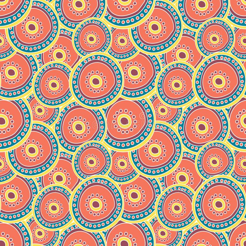 Multicolored circles layering on each other. stock illustration