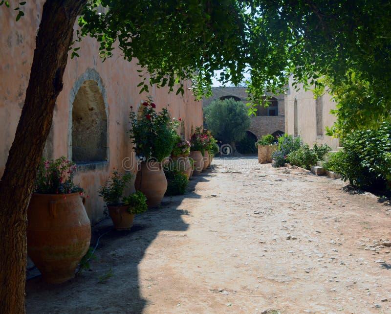 Beautiful path in Monastery Arkadi , Crete Moni Arkadiou royalty free stock photography