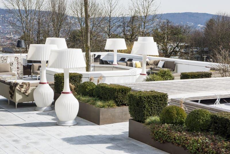 Beautiful patio Hotel Atlantis by Giardino, Zurich stock photos