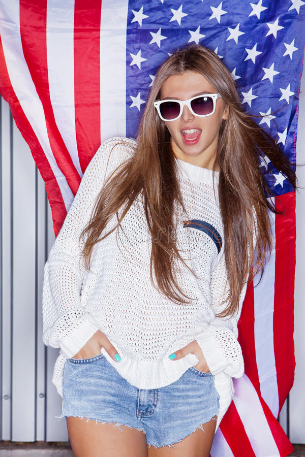 Download Beautiful patriotic girl stock image. Image of female - 27310175