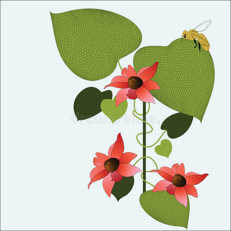 Beautiful patterened leaves with flower blossoms stock illustration