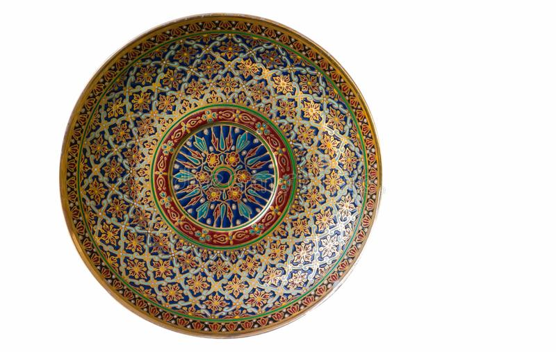 Beautiful pattern on the Benjarong bowl. Beautiful pattern on the Benjarong bowl is a traditional art in Thailand in five colors on ceramics pottery isolated on royalty free stock photography