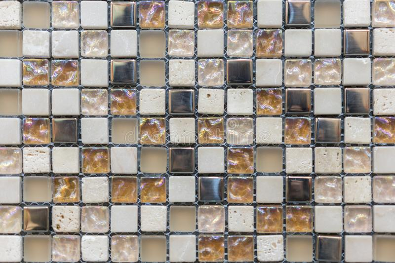 The beautiful pattern of ceramics wall texture for background. Ceramic glass colorful tiles mosaic composition pattern. Background royalty free stock image