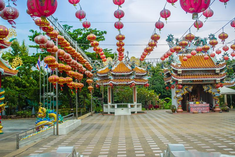 Beautiful Pattern of Chinese Red Lanterns Decorated between the pavilions at the public Chinese temple in the Celebrate of the stock image