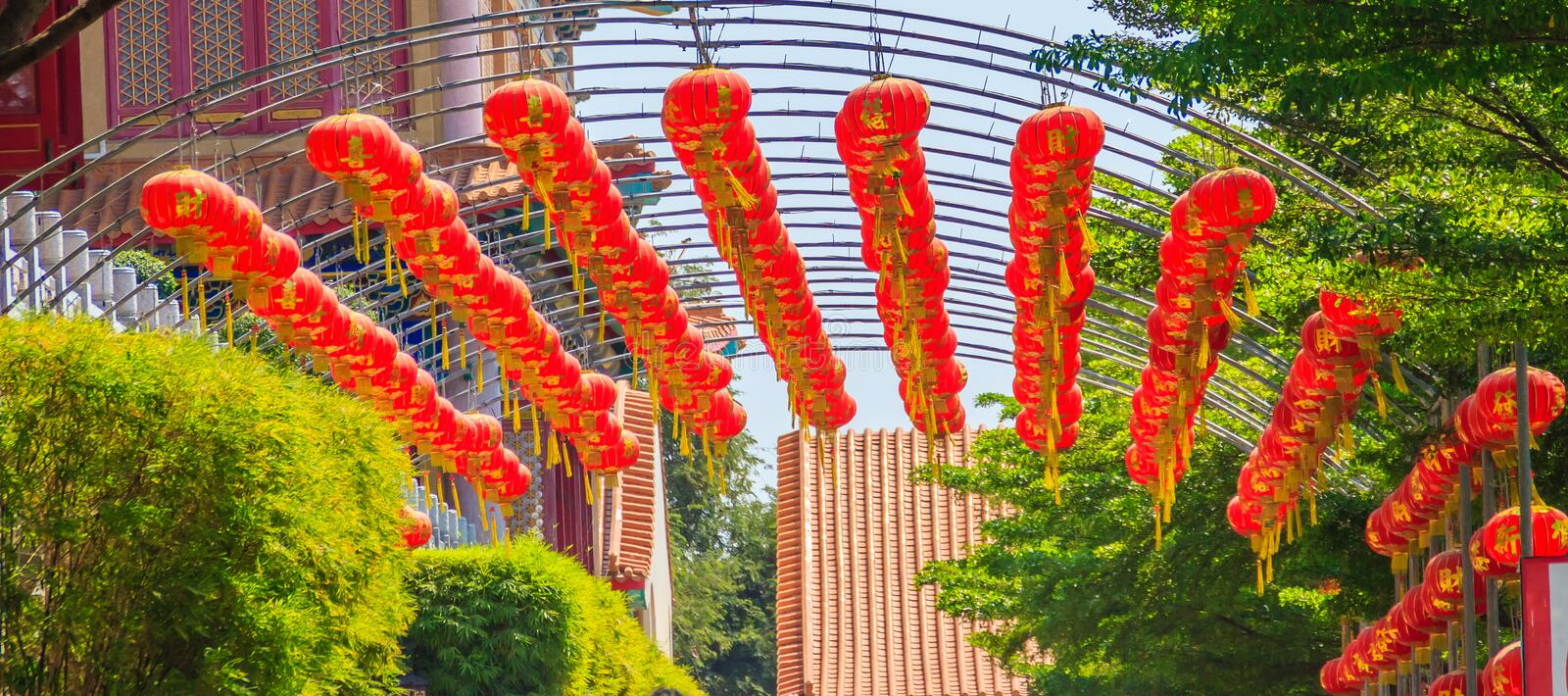 Beautiful Pattern of Chinese Red Lanterns Decorated at Wat Leng stock images