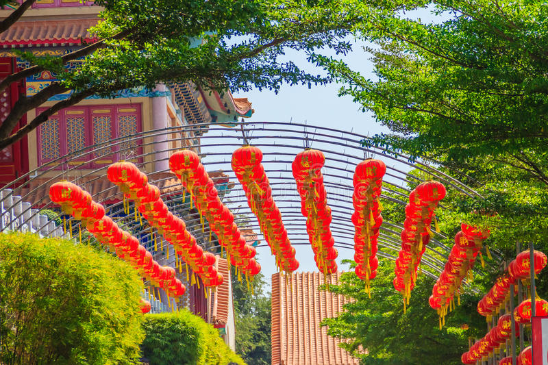 Beautiful Pattern of Chinese Red Lanterns Decorated at Wat Leng stock photo