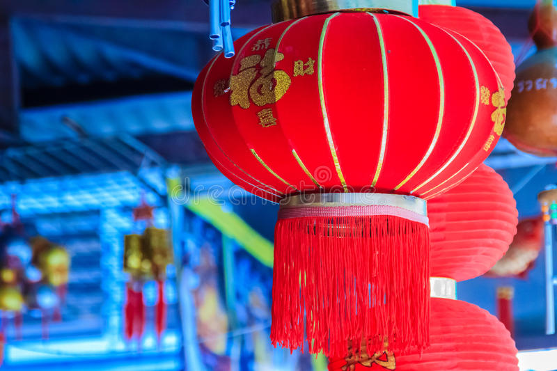 Beautiful Pattern of Chinese Red Lanterns Decorated at Wat Leng royalty free stock photography