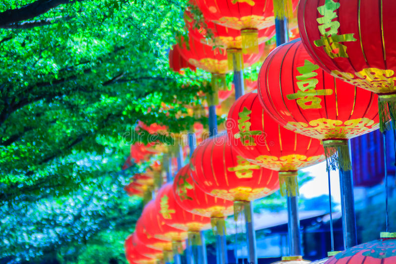Beautiful Pattern of Chinese Red Lanterns Decorated at Wat Leng stock photos