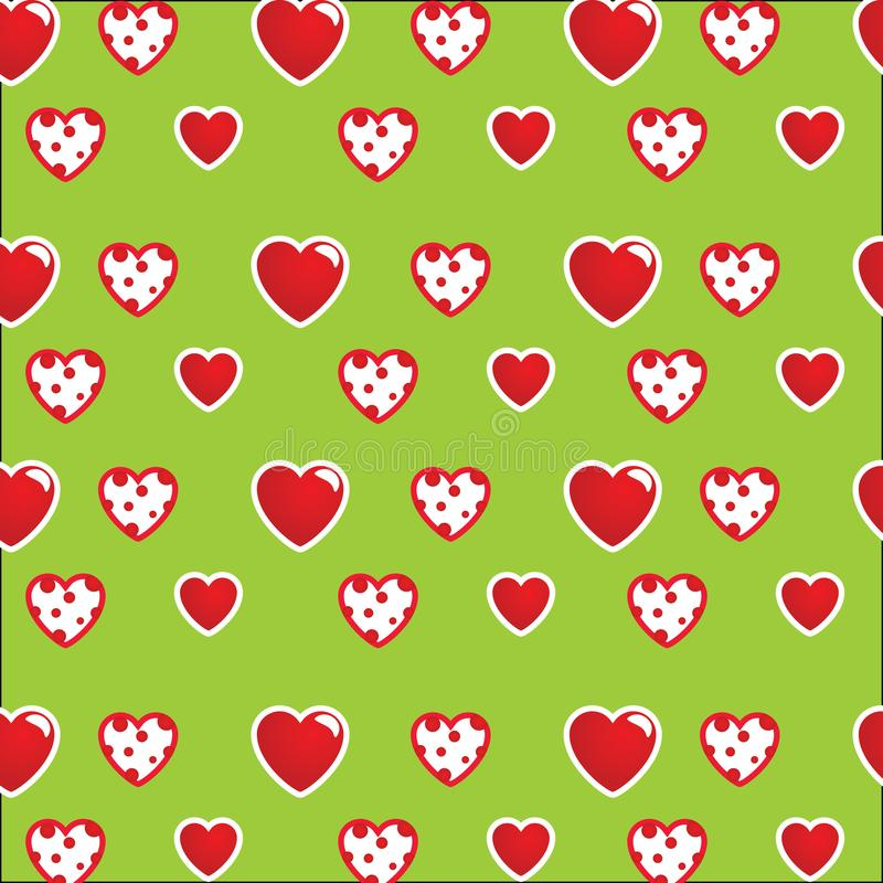 Beautiful pattern: white-red hearts on a bright green background. For textiles, fabrics. Romantic stylish print, texture. royalty free illustration