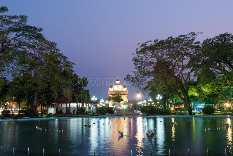 Beautiful architecture Patuxay Victory Gate in Vientiane, Laos royalty free stock photos