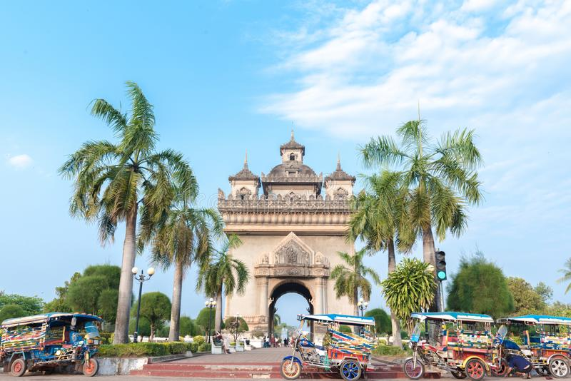 Beautiful architecture PatuxayVictory Gate in Vientiane, Laos stock photography