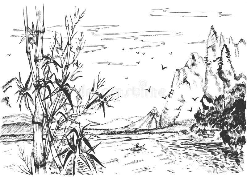 Beautiful peaceful Chinese scenery set vector illustration