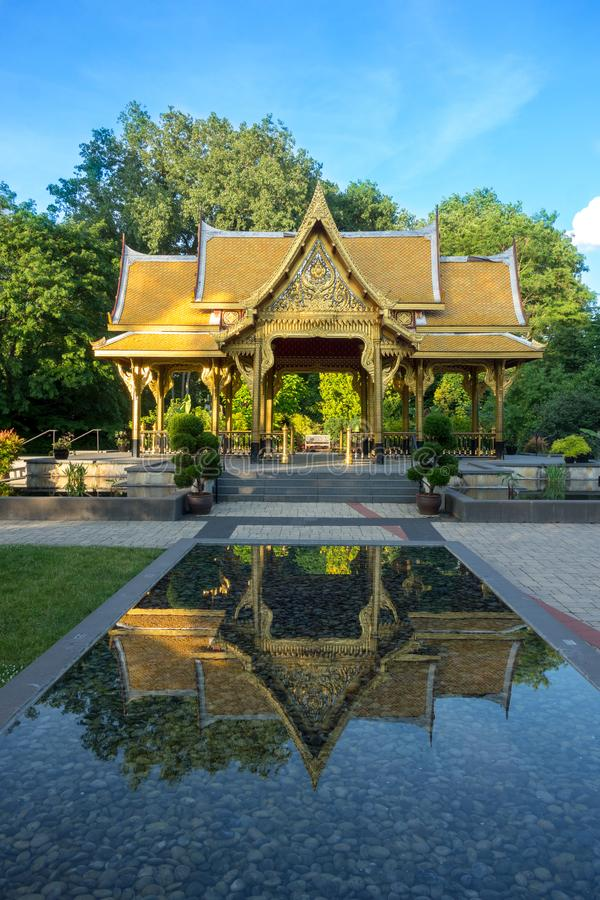 Thai pavilion in Olbrich Botanical Gardens in Madison, Wisconsin stock image