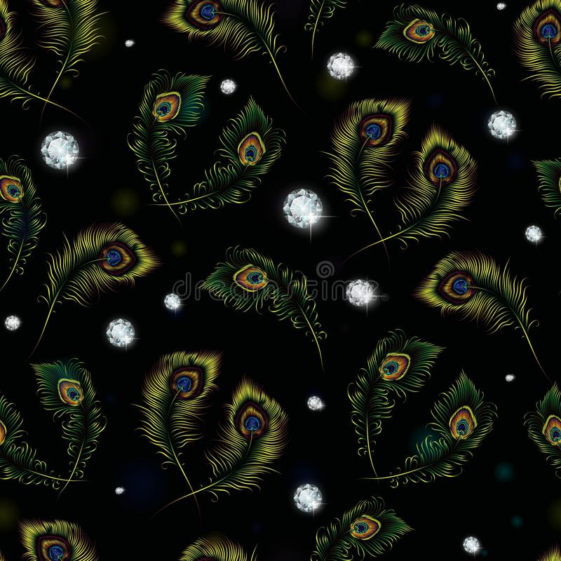 Beautiful peacock feathers and diamonds seamless pattern.  vector illustration