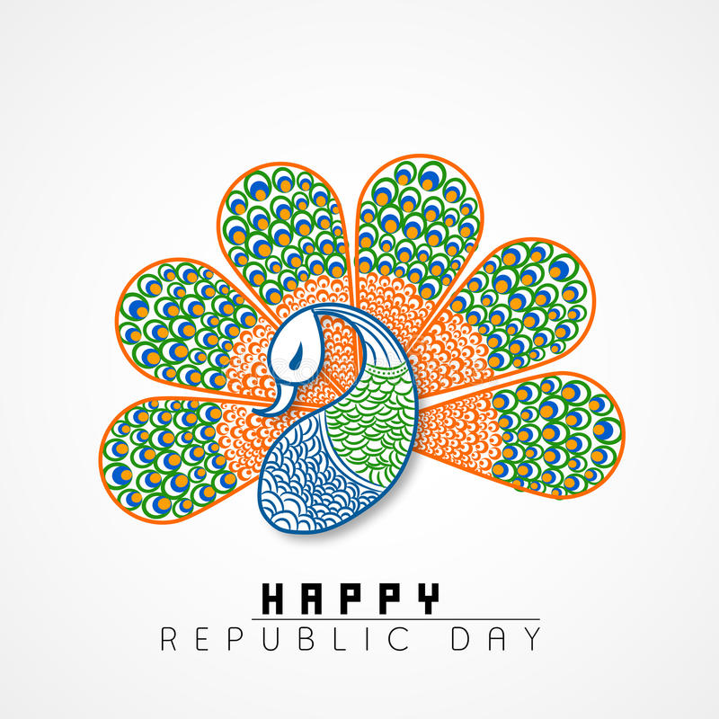 Beautiful peacock in national flag colors for Indian Republic Day celebrations. Beautiful peacock in national flag colors on grey background for Happy Indian stock illustration