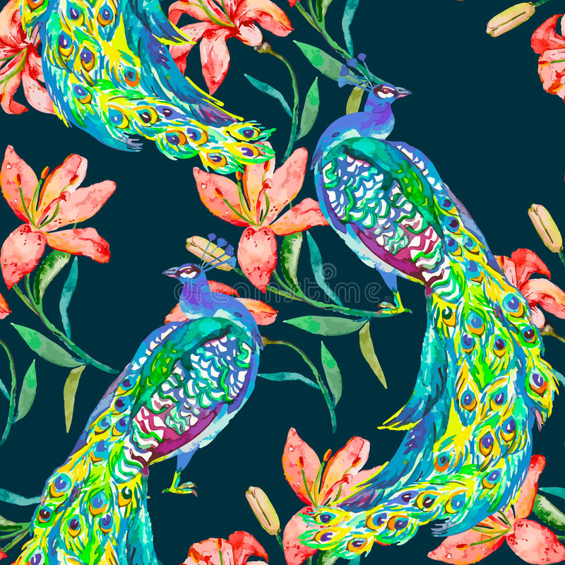 Beautiful peacock pattern.Vector. Peacocks and lily. royalty free illustration