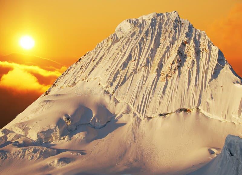 Beautiful peak Alpamayo stock photography