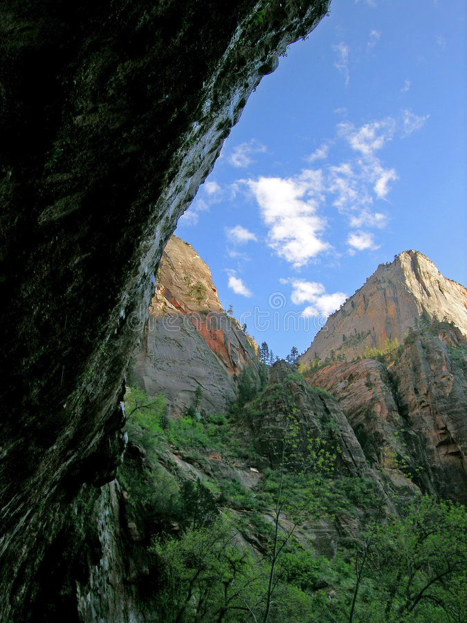 Beautiful peak with clouds in Zion stock photos
