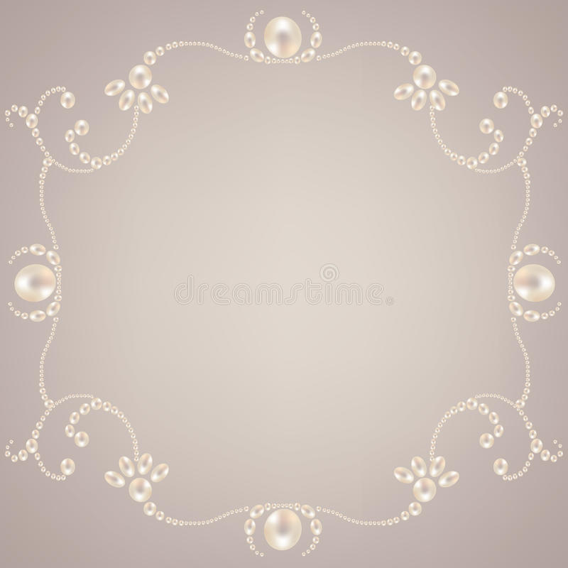 Beautiful pearl frame. Beautiful elegant pearl frame on gray background vector illustration