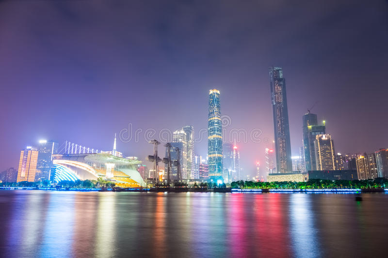 Beautiful pearl river at night in guangzhou. Beautiful the pearl river at night with guangzhou financial district skyline royalty free stock images