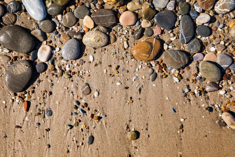 Beautiful pebbles on the beach close up stock image
