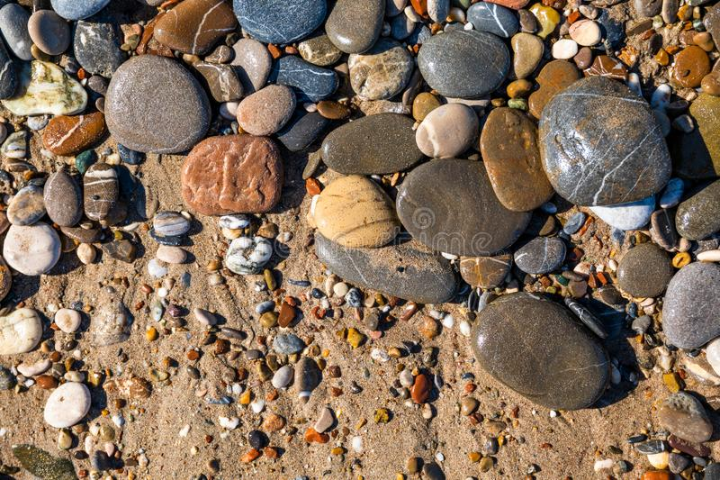 Beautiful pebbles on the beach close up royalty free stock photo