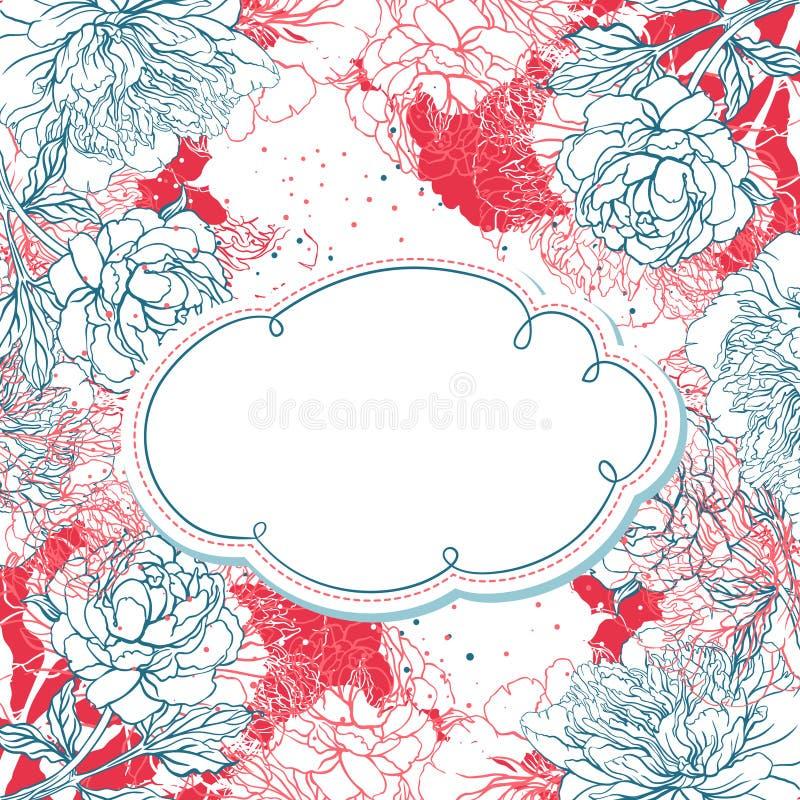 Beautiful peony bouquet design stock illustration